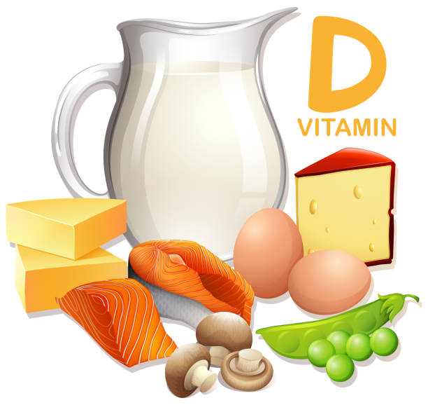a set of food with vitamin d - vitamin d stock illustrations