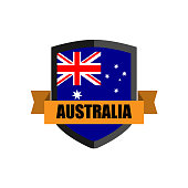 Set of Football Badge vector Designed illustration. Football tournament 2018 Group C with Word AUSTRALIA.