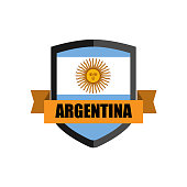 Set of Football Badge vector Designed illustration. Football tournament 2018 Group D with Word ARGENTINA.
