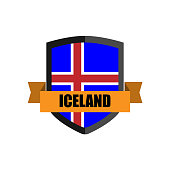 Set of Football Badge vector Designed illustration. Football tournament 2018 Group D with Word ICELAND.