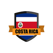 Set of Football Badge vector Designed illustration. Football tournament 2018 Group E with Word COSTA RICA.