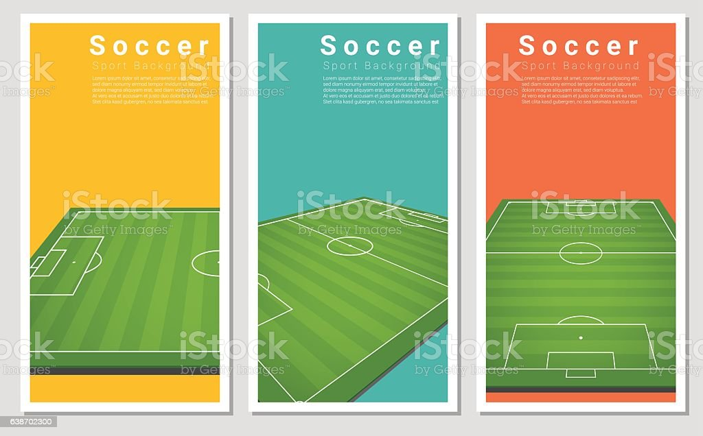 Set of Football field graphic background 3 vector art illustration