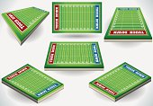 Set of Football Fields in Six Positions