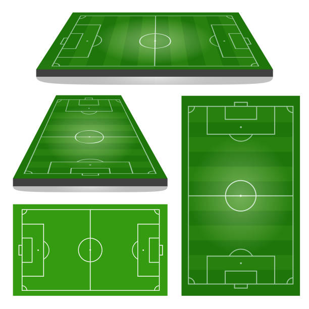 Set of Football Fields Set of Football Fields.  Vertical and Horizontal. Vector illustration. agricultural field stock illustrations