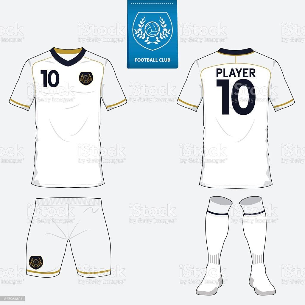Set of football jersey, soccer kit. Football apparel mock up. Vector vector art illustration