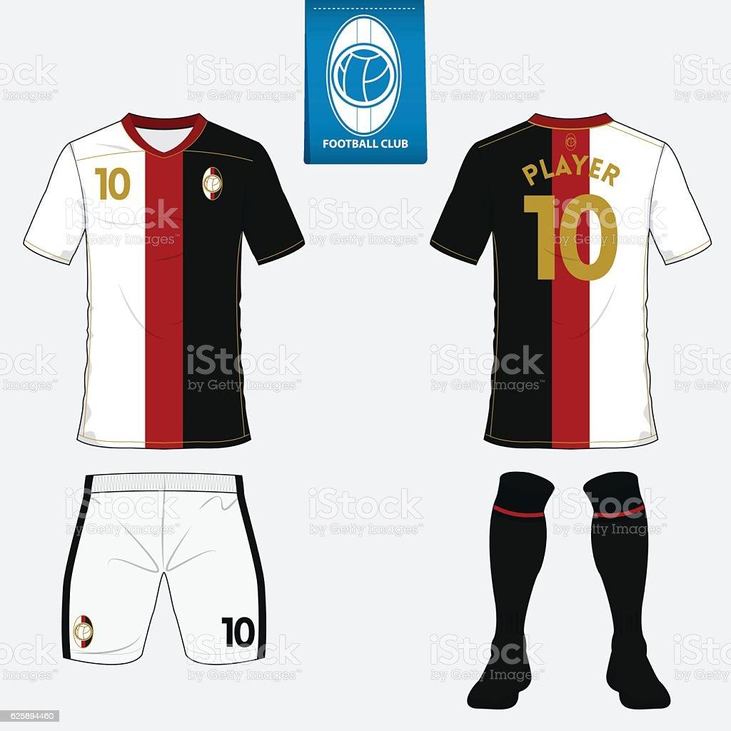 set of football jersey soccer kit football shirt template vector t