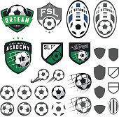 Set of football, soccer emblem design elements