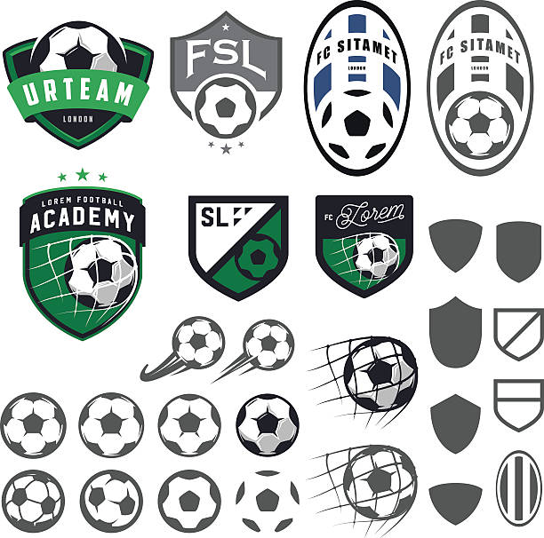 Set of football, soccer emblem design elements vector art illustration