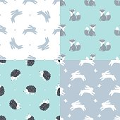 Set of Forest Animals Seamless Vector Patterns. Fox, Bunny, Hedgehog.