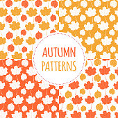 Set of forest autumn patterns vector seamless. Gold tree leaves backgrounds. Nature print for seasonal banner, kids wallpaper, natural product package, wrapping paper or thanksgiving card template.