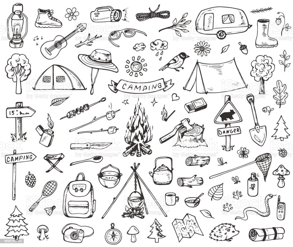 Set of forest camping icons - Royalty-free Abeto arte vetorial