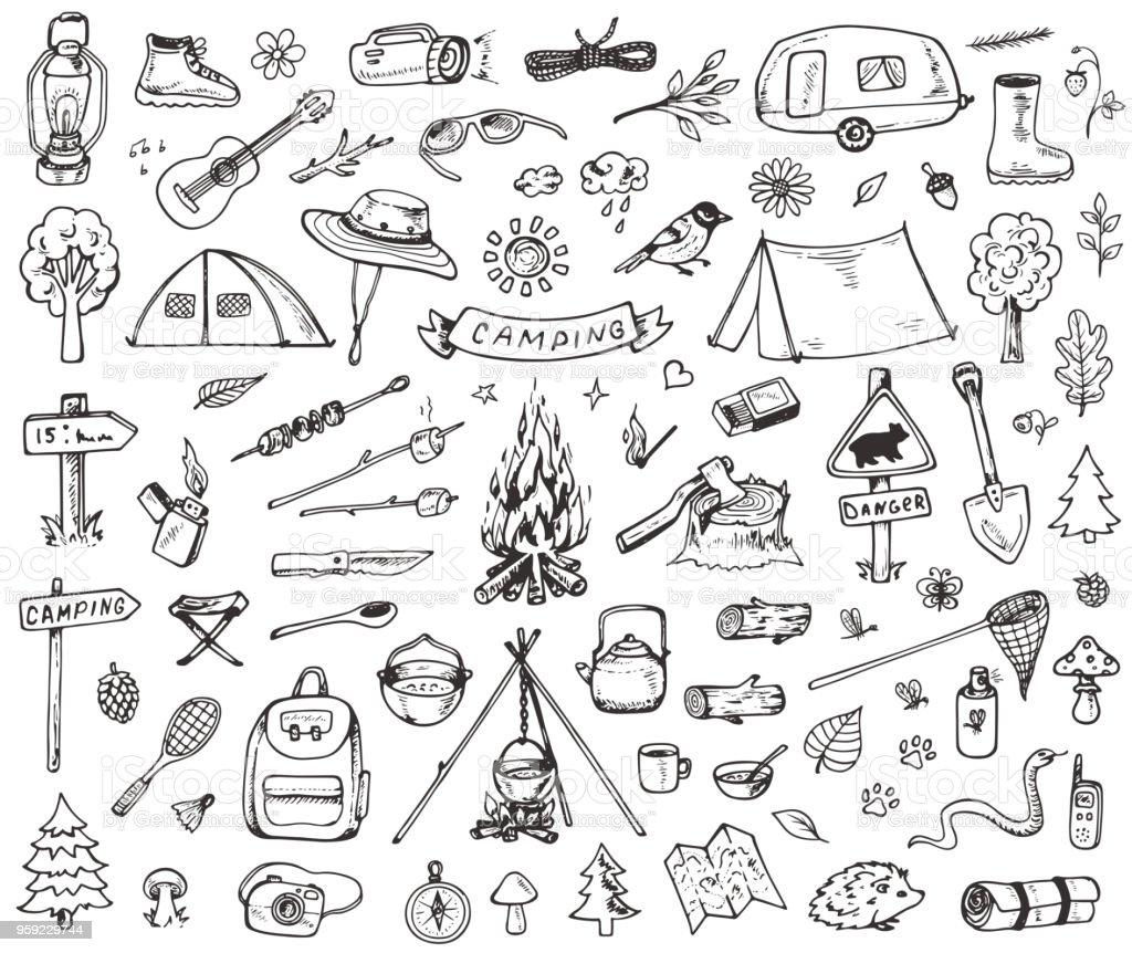 フォレスト キャンプ アイコンのセット ベクターアートイラスト