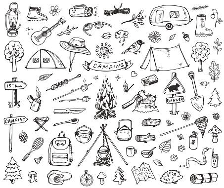 Set Of Forest Camping Icons - Arte vetorial de stock e mais imagens de Abeto