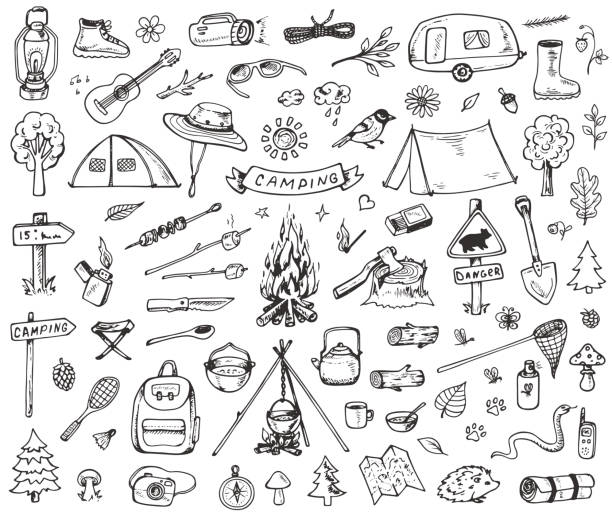 Set of forest camping icons vector art illustration