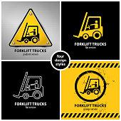 set of forklift truck warning symbols containing four unique design elements in different variations: gradient, flat, line and grunge style, eps10 vector illustration