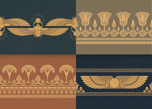 Set of four a seamless vector illustration of Egyptian national ornament on the various background