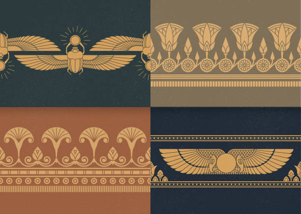 Set of four a seamless vector illustration of Egyptian national ornament on the various background Set of four a seamless vector illustration of Egyptian national ornament on the various background. ancient egyptian culture stock illustrations