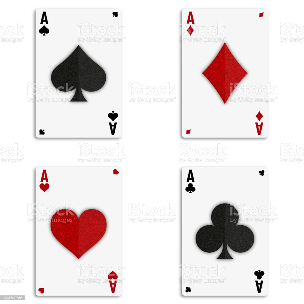 Set of four aces deck of cards vector art illustration