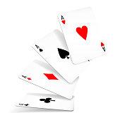 Four aces of diamonds, clubs, spades and hearts fall or fly on white background. Set of four aces deck of cards for playing poker and casino. Vector illustration