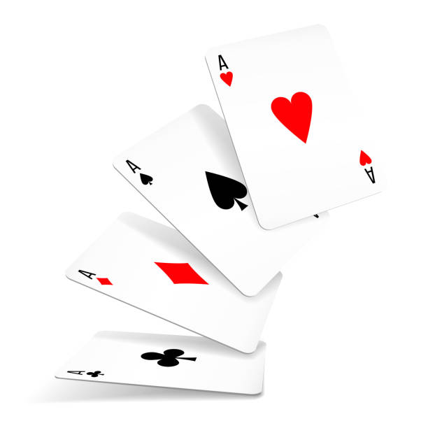 Set of four aces deck of cards Four aces of diamonds, clubs, spades and hearts fall or fly on white background. Set of four aces deck of cards for playing poker and casino. Vector illustration detach stock illustrations