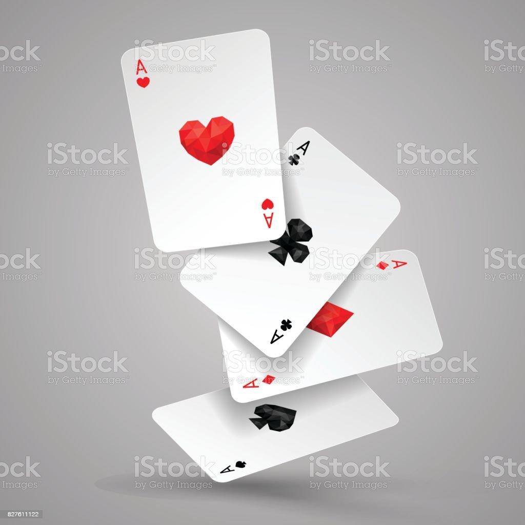 Conjunto de quatro ases baralho voar ou cair. Ganhar a mão de poker - ilustração de arte em vetor