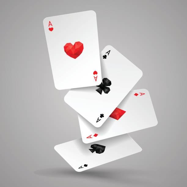 satz von vier asse spielkarten fliegen oder fallen. pokerhand zu gewinnen - kartenspielen stock-grafiken, -clipart, -cartoons und -symbole