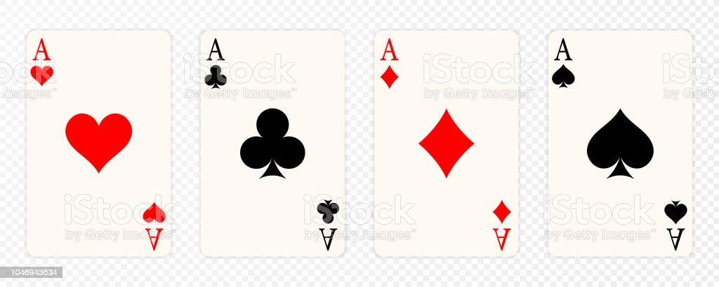 Conjunto de naipes de cartas de jogar quatro ases. Ganhar a mão de poker. Conjunto de ás de copas, espadas, clubes e diamantes - ilustração de arte em vetor