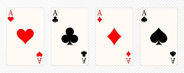 illustrazioni stock, clip art, cartoni animati e icone di tendenza di set of four aces playing cards suits. winning poker hand. set of hearts, spades, clubs and diamonds ace - rombo