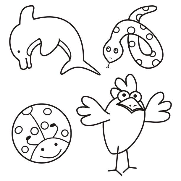 Cute Ladybug Coloring Pages Silhouettes Illustrations ...