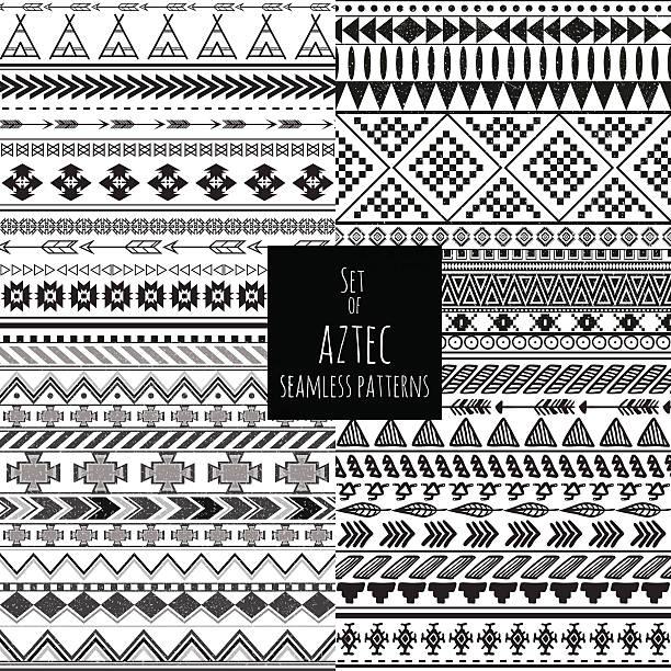 Asteca Conjunto de quatro sem costura padrões de cor branca preto e - ilustração de arte em vetor