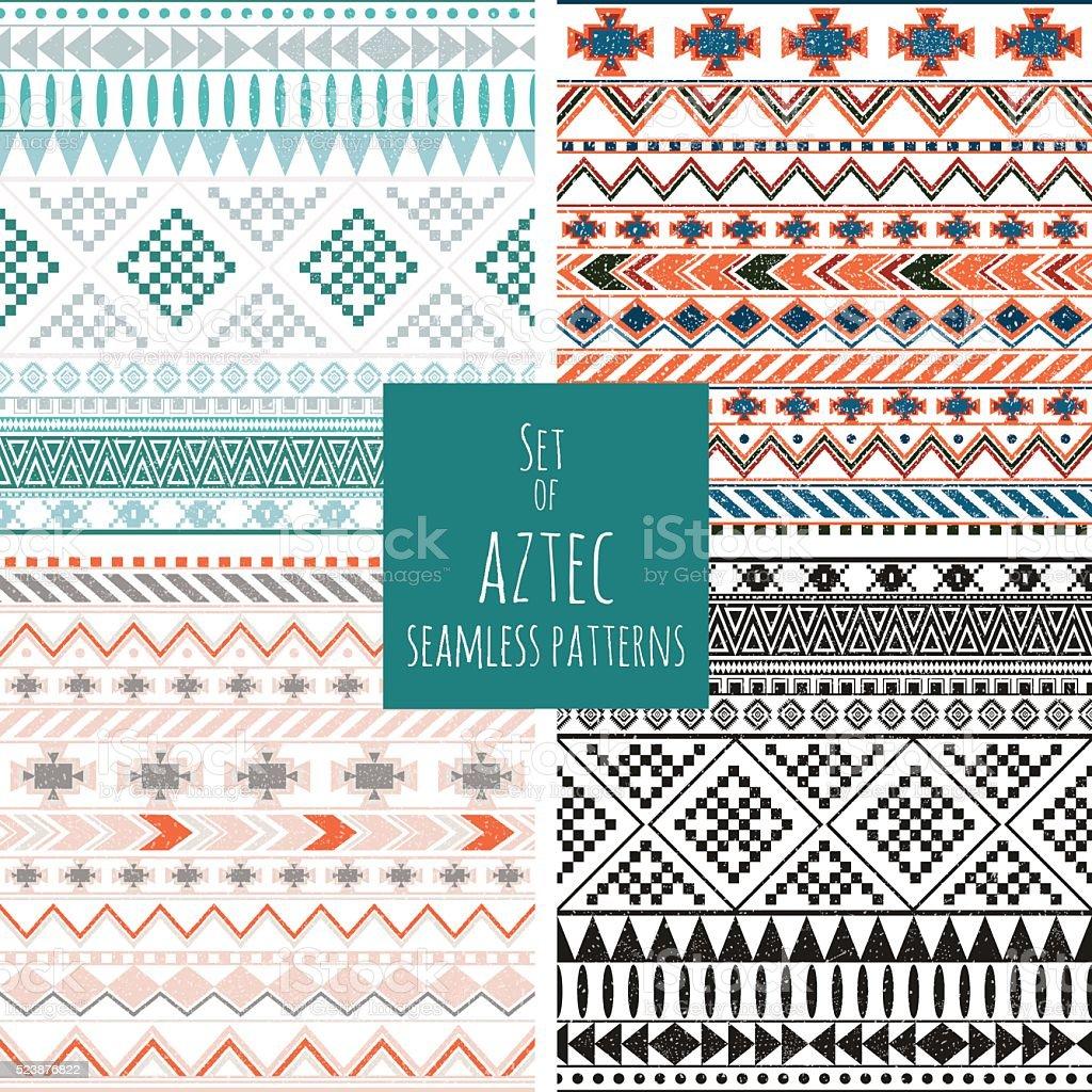 Asteca Conjunto de quatro Padrões sem emendas - ilustração de arte em vetor