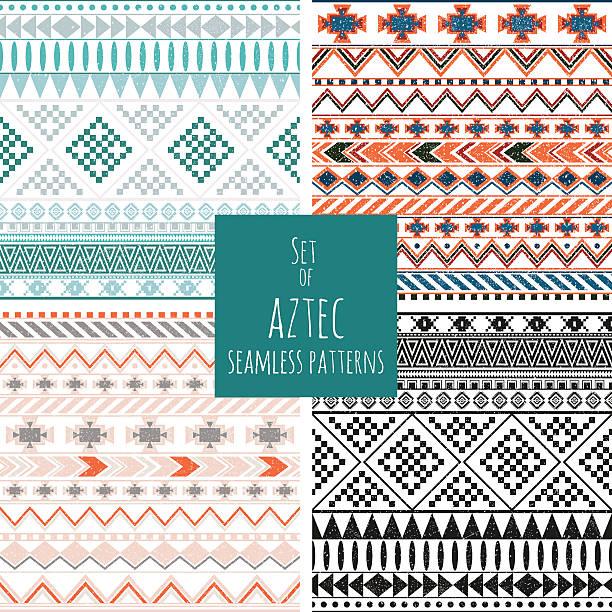 Set of four aztec seamless patterns vector art illustration
