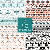 Set of four aztec seamless patterns
