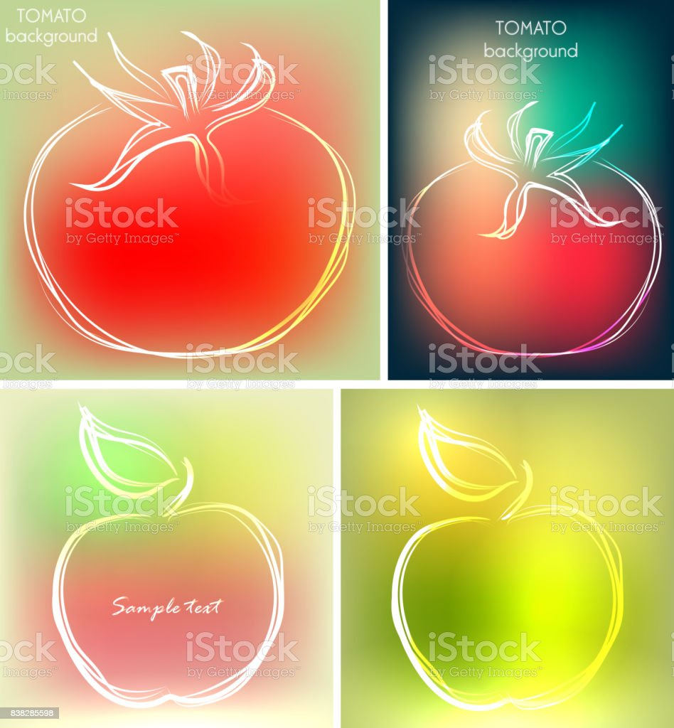 Set Of Four Backgrounds Or Greeting Cards With Tomatoes And Apples