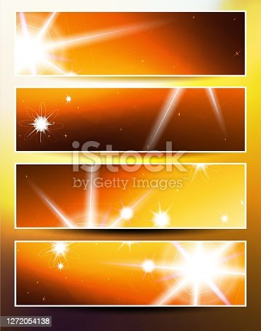 Set of four banners. Autumn and energy thematic.