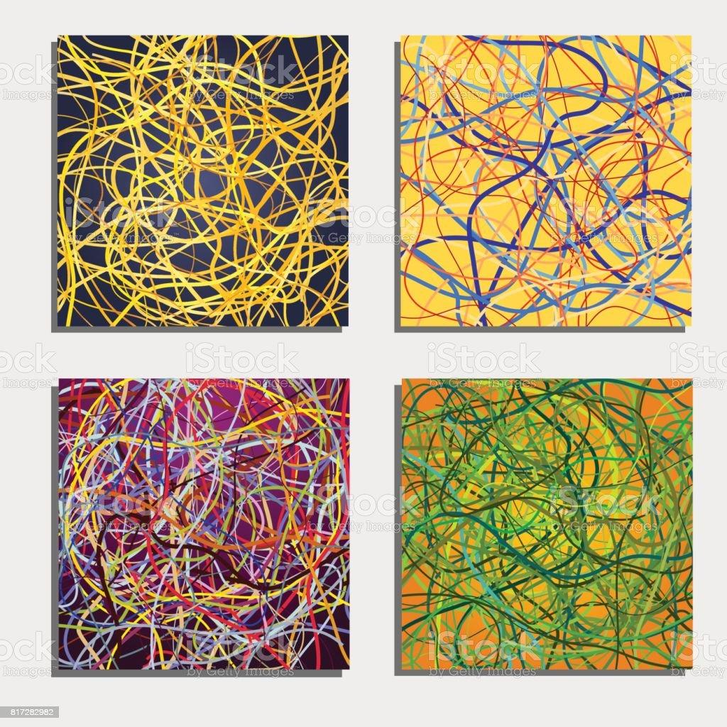 Set Van Vier Schitterende Abstracte Achtergronden Met Kleurrijke ...