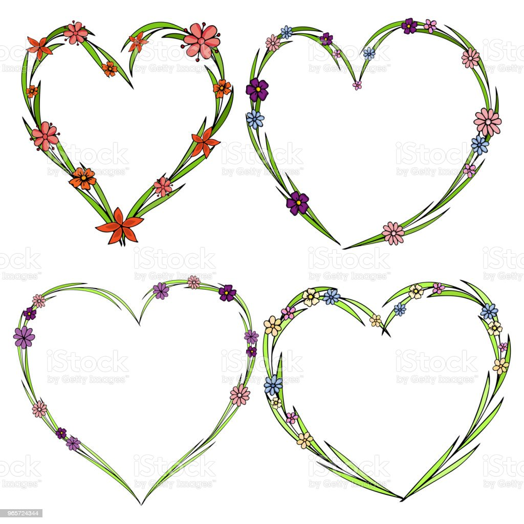 Set of four beautiful flower wreaths in the shape of a heart. Elegant flower collection with leaves and flowers. - Royalty-free Abstract stock vector