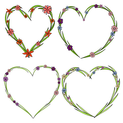 Set Of Four Beautiful Flower Wreaths In The Shape Of A Heart Elegant Flower Collection With Leaves And Flowers Stock Illustration - Download Image Now