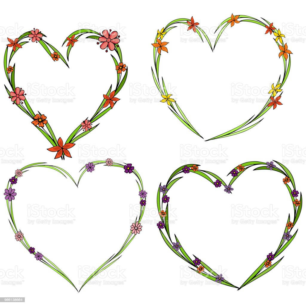 Set of four beautiful flower wreaths in the shape of a heart. Elegant flower collection with leaves and flowers. - Векторная графика Абстрактный роялти-фри