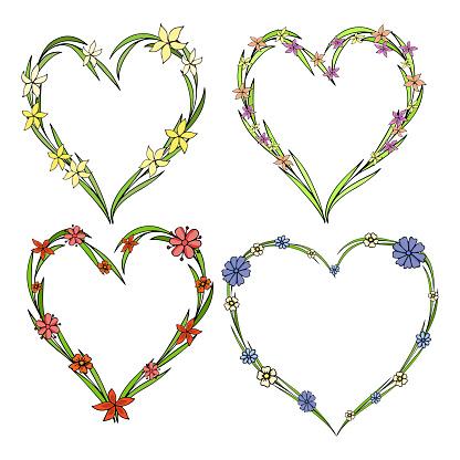 Satz Von Vier Schönen Blumenkränze In Der Form Eines Herzens Elegante Blume Kollektion Mit Blättern Und Blüten Stock Vektor Art und mehr Bilder von Abstrakt