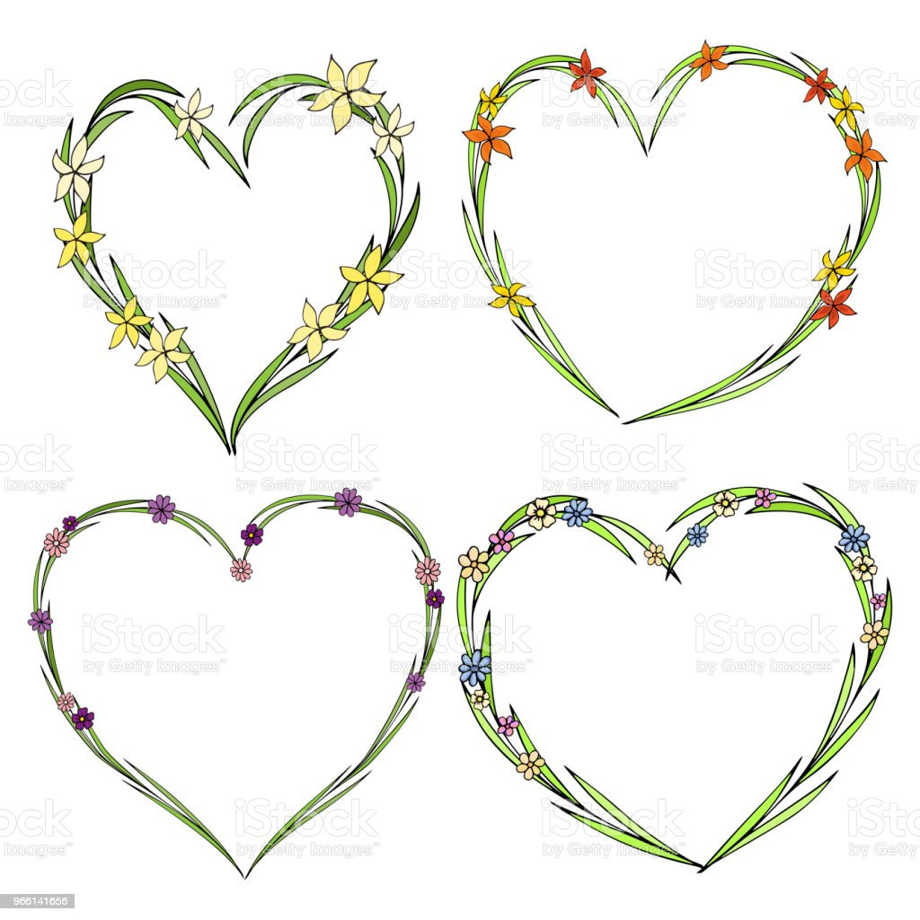 Set of four beautiful flower wreaths in the shape of a heart. Elegant flower collection with leaves and flowers. - arte vettoriale royalty-free di Astratto