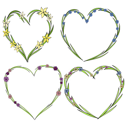 Set Of Four Beautiful Flower Wreaths In The Shape Of A Heart Elegant Flower Collection With Leaves And Flowers - Arte vetorial de stock e mais imagens de Abstrato