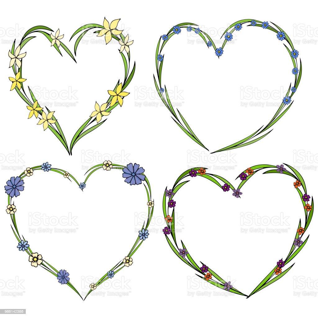 Set van vier mooie bloem kransen in de vorm van een hart. De collectie van de elegante bloem met bladeren en bloemen. - Royalty-free Abstract vectorkunst