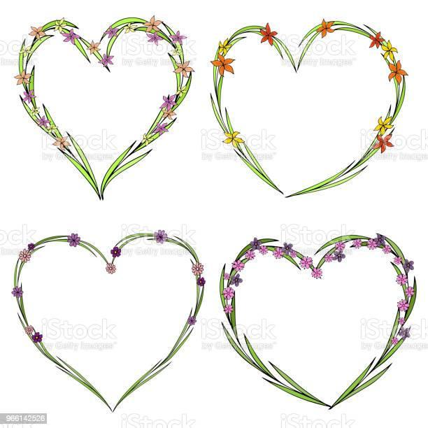 Uppsättning Av Fyra Vackra Blomma Kransar I Form Av Ett Hjärta Elegant Blomma Samling Med Blad Och Blommor-vektorgrafik och fler bilder på Abstrakt