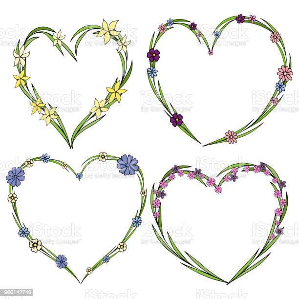 Set Van Vier Mooie Bloem Kransen In De Vorm Van Een Hart De Collectie Van De Elegante Bloem Met Bladeren En Bloemen Stockvectorkunst en meer beelden van Abstract