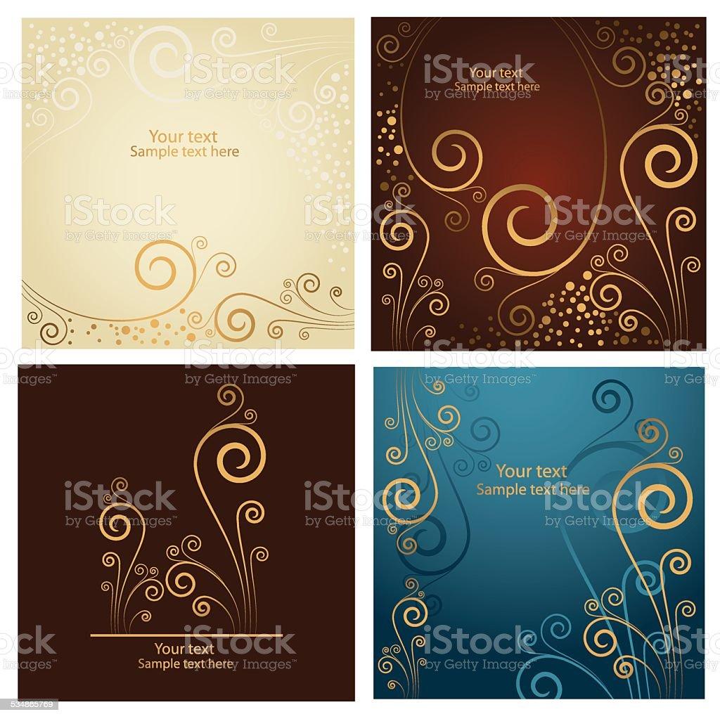 Set di quattro belle astratto sfondo floreale dorato - illustrazione arte vettoriale
