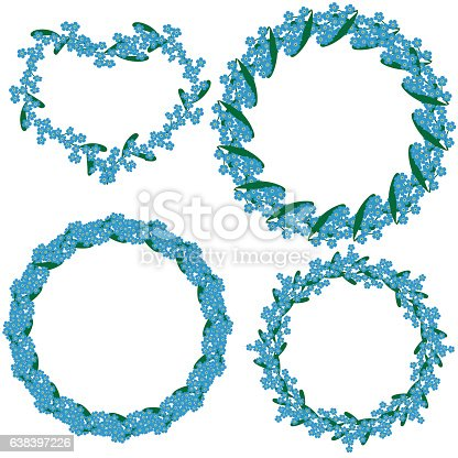 istock Set of four beautiful round frames made forget-me-not flowers 638397226