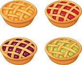 Set of four berry crumble pies. Vector illustration.