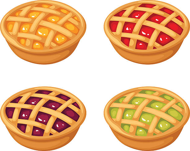 set of four berry crumble pies. vector illustration. - pie stock illustrations, clip art, cartoons, & icons