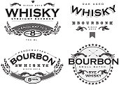 Set of four black and white retro Bourbon Whisky labels. Use food and drink,bar,entertainment,label. Black and white vector. Easy to edit. Text and typography design. Wheat and scroll elements. Restaurant, menu, sample,bottle. Handcrafted whisky,small batch whisky, Retro and vintage design look and feel. Design template.